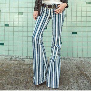 Free People Jolene Stripe Super Flare Wide Leg Jeans Size 27